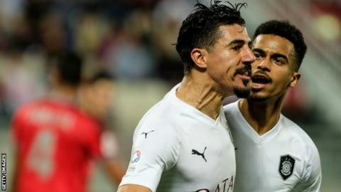 Algeria's Baghdad Bounedjah celebrates a goal for Qatar's Al Sadd