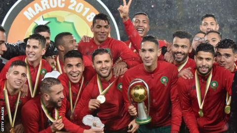 Morocco celebrate winning the 2018 African Nations Championship