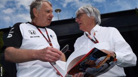 Mclaren founder Tyler Alexander (left) with F1 supremo Bernie Ecclestone