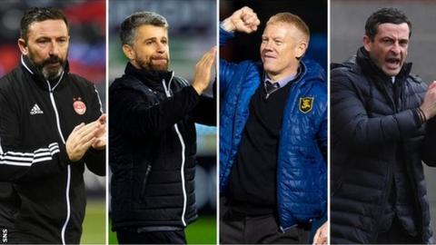Derek McInnes, Stephen Robinson, Gary Holt and Jack Ross