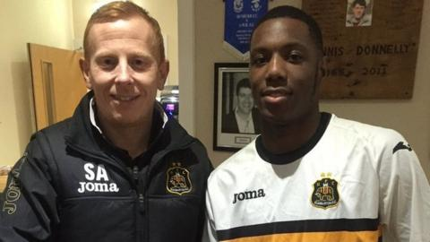 Dumbarton manager Stevie Aitken and Sebastian Osei-Obengo