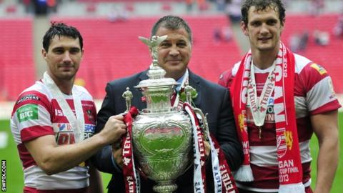 Wigan coach Shaun Wane with the Challenge Cup