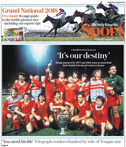 Daily Telegraph sport section on Saturday