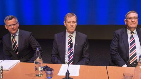 Rangers chairman Dave King (centre), with managing director Stewart Robertson (L) and director Douglas Park