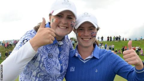Olivia Mehaffey and Leona Maguires helped GB&I to Curtis Cup success in June