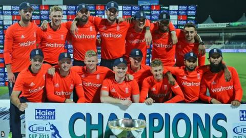 England celebrate winning the T20 series against Pakistan in the UAE