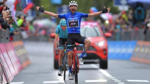 Giulio Ciccone celebrates victory on stage 16 of the 2019 Giro d'Italia