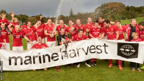 Kinlochshiel celebrate their Premiership title success