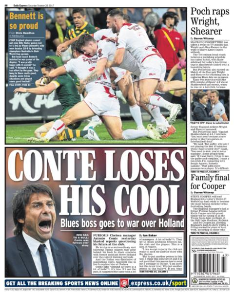 Daily Express back page on Saturday