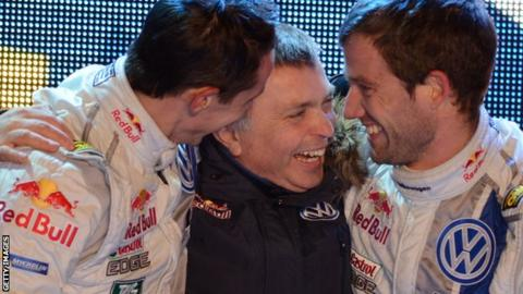 Julien Ingrassia of France with Jost Capito Team Principal of the Volkswagen Motorsport WRT and Sebastien Ogier of France celebrate the success in the final podium during Day Three of the WRC Sweden