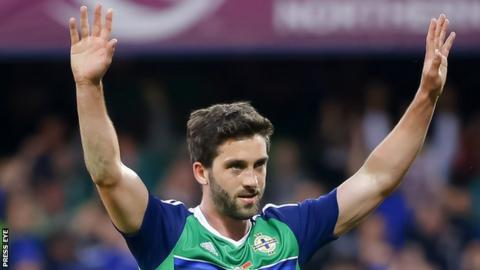 Will Grigg celebrates his only international goal against Belarus last week
