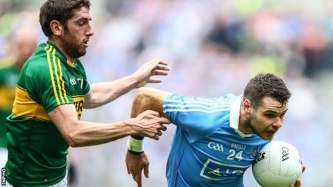 Kerry's Anthony Maher tries to keep pace with Dublin's Kevin McManamon