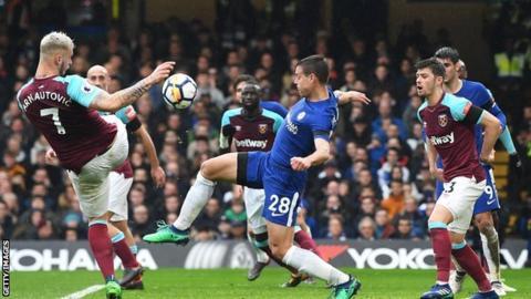 Cesar Azpilicueta scores for Chelsea against West Ham