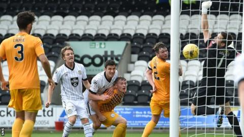 John Sutton scores for St Mirren with seven minutes of normal time to go