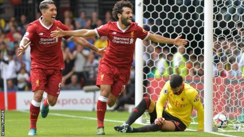 Mohamed Salah celebrates scoring against Watford for Liverpool