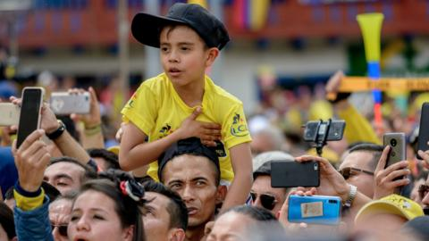 Zipaquira, Colombia, 7 August: Supporters of Colombian cyclist Egan Bernal welcome the Tour de France champion back to his hometown. (Photo by Guillermo Legaria Schweizer/Getty Images)