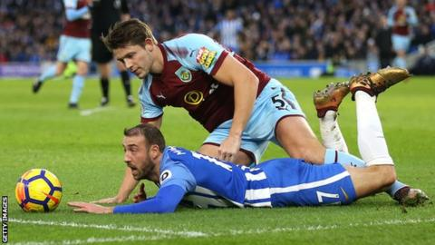 Tarkowski tussled with Glenn Murray during the 35th minute of Saturday's 0-0 draw
