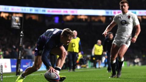 Darcy Graham scores a try for Scotland against England