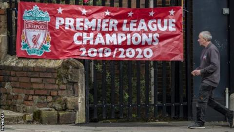 Football Liverpool Premier League champions banner