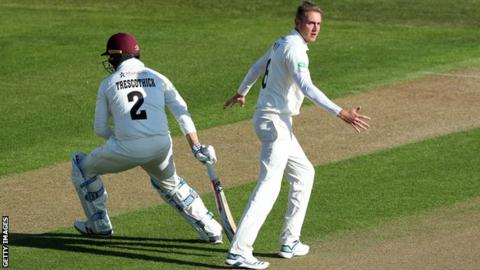 County Championship: Lewis Gregory stars as Somerset take charge at Nottinghamshire