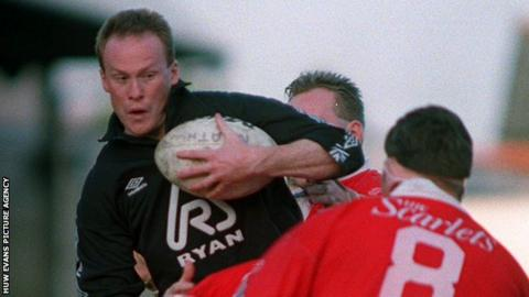 Paul Thorburn playing for Neath against Llanelli in 1993 before rugby union went professional