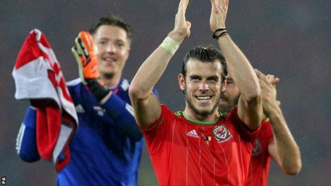 Wales celebrate after beating Belgium