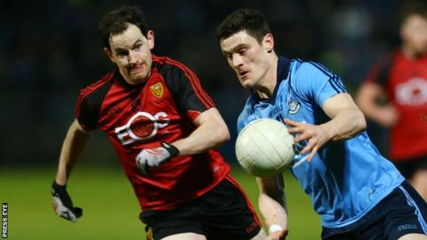 Down's Conall McGovern and Diarmuid Connolly of Dublin in action at Pairc Esler