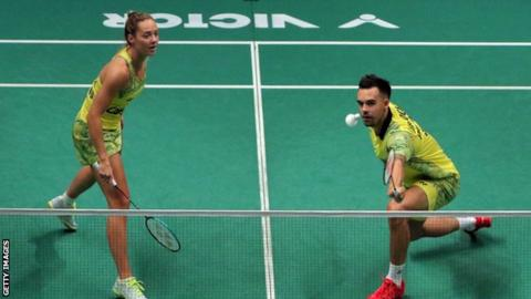 Chris and Gabby Adcock in action at the Malaysia Open