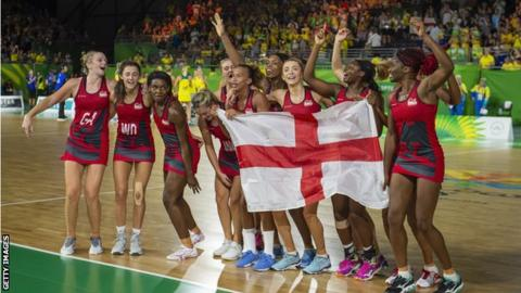 England celebrate winning Commonwealth Games gold