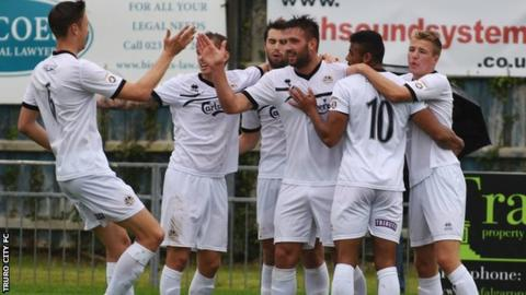 Matt Wright is congratulated by his teammates after scoring Truro's opening goal at Gosport Borough