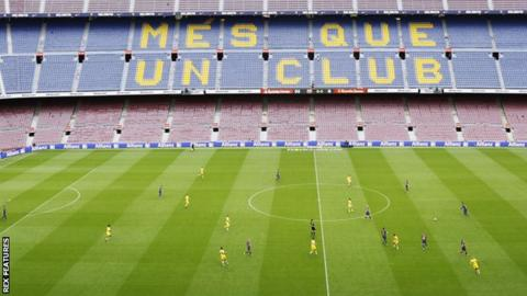 Barcelona v Las Palmas at an empty Nou Camp