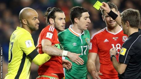 Gareth Bale's booking in the draw with Republic of Ireland ruled him out of Wales' last game against Serbia