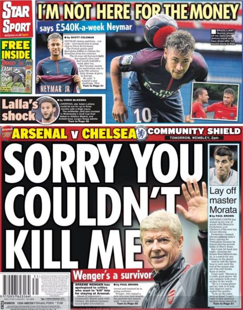 The Star lead with Arsene Wenger's sarcastic apology to critics who didn't want him to stay at Arsenal