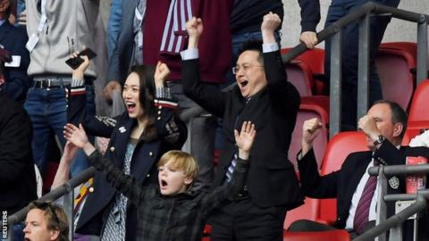 Tony Xia celebrates Villa's promotion to the Premier League