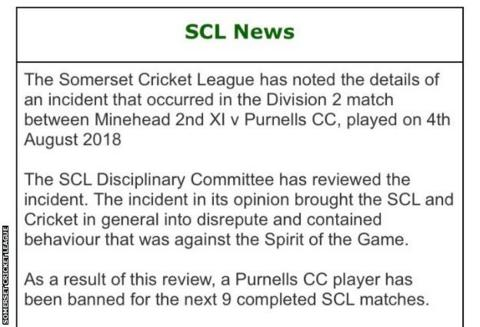 Somerset Cricket League statement