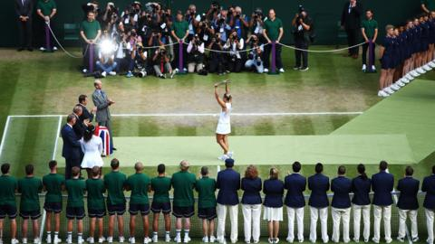 Angelique Kerber celebrates winning the women's Wimbledon title