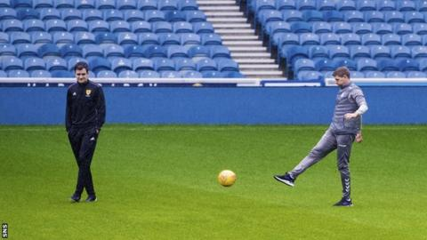 Steven Gerrad on the pitch at Ibrox