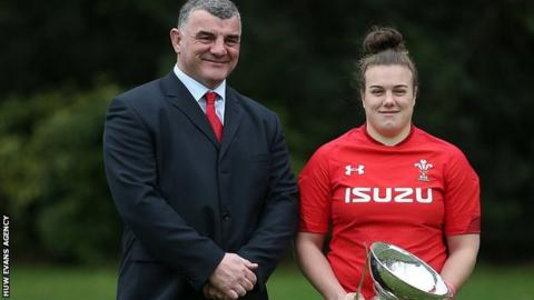 Wales women's rugby coach Rowland Phillips with team captain Carys Phillips, his daughter