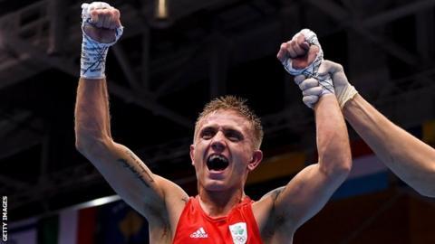 Kurt Walker of Ireland celebrates his win over Mykola Butsenko of Ukraine during their Mens Bantamweight final