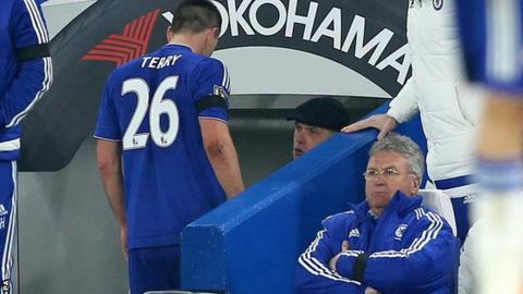 Chelsea skipper John Terry and manager Guus Hiddink