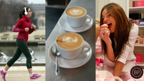 woman running, 2 coffee cups and woman eating a cupcake
