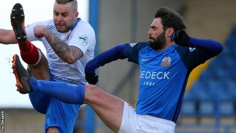 Player-manager Hamilton was up front for Glenavon in Saturday's win over Ards
