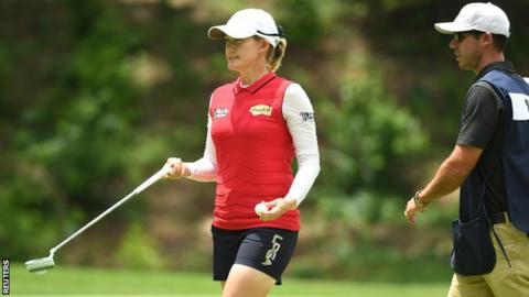 Ariya Jutanugarn leading U.S. Women's Open golf championship by four strokes