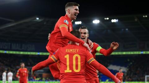 Wales celebrate beating Hungary to qualify for the EURO 2020 finals