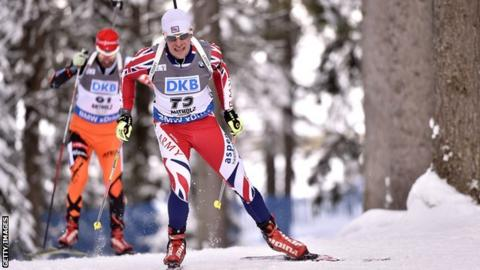 Kevin Kane of England competes during the IBU Biathlon World Cup Men's Sprint
