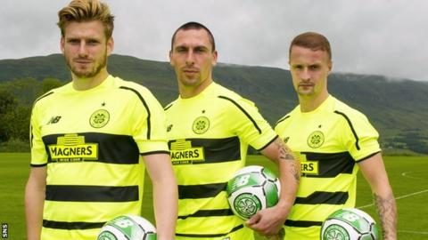 Stuart Armstrong, Scott Brown and Leigh Griffiths model Celtic's new kit