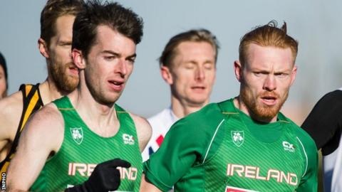 Paul Pollock and Ireland team-mate Sean Tobin in the early stage of Sunday's race in Slovakia