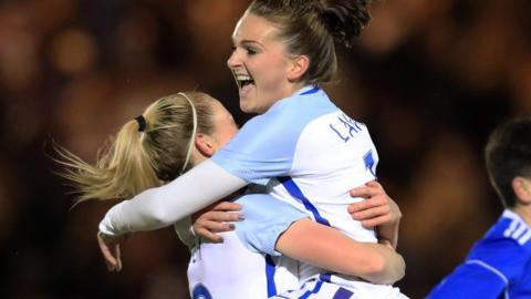 Melissa Lawley of England celebrates after scoring to make it 1-0