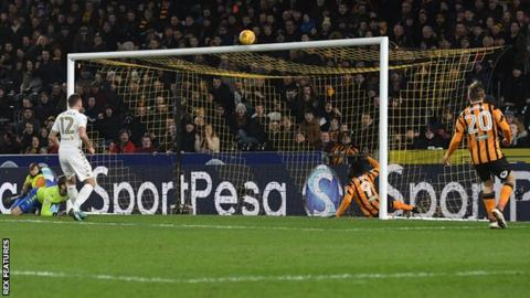 Nouha Dicko of Hull City sends the ball over the crossbar from close range