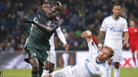 Kouassi Eboue in action for Krasnodar against Schalke in the Europa League in October 2016